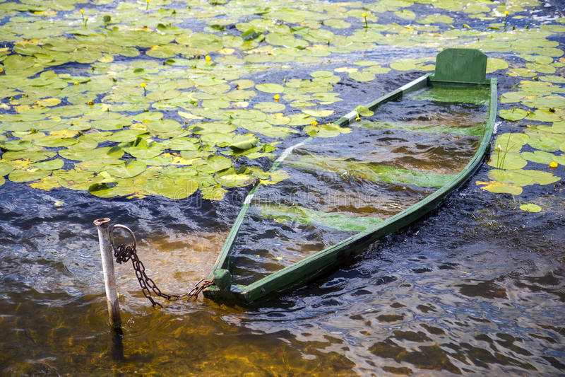 Sunk boat royalty free stock photo
