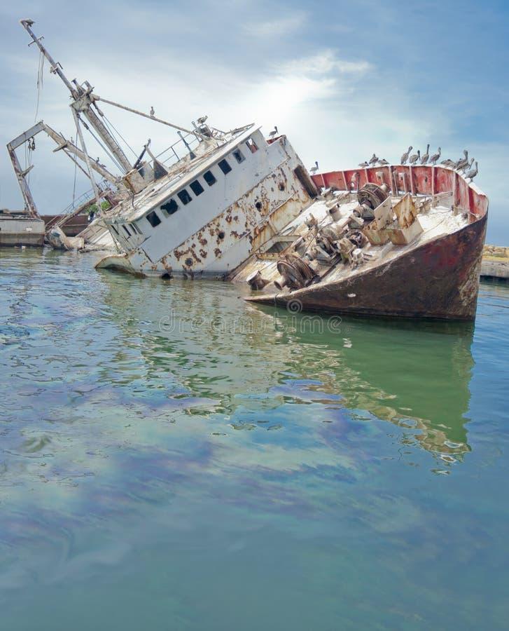 Download Sunken boat at the dock stock image. Image of steel, total - 31924901