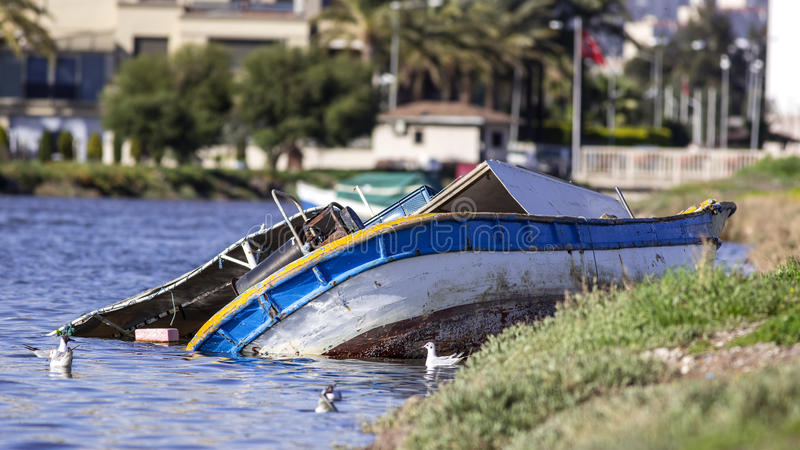 Sunken Boat royalty free stock photos