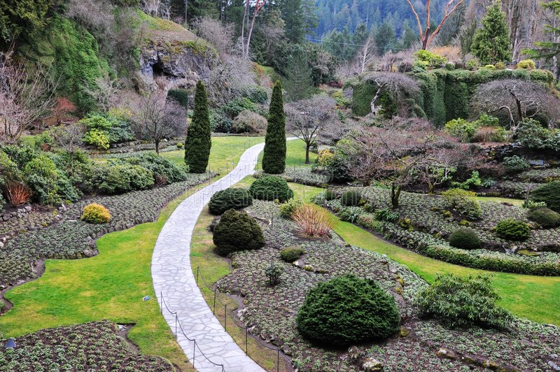 Sunken garden landscaping royalty free stock images