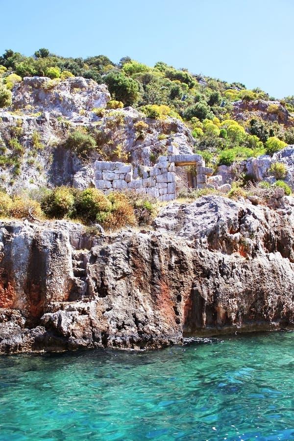 Sunken Lycian city on the Kekova island royalty free stock photo