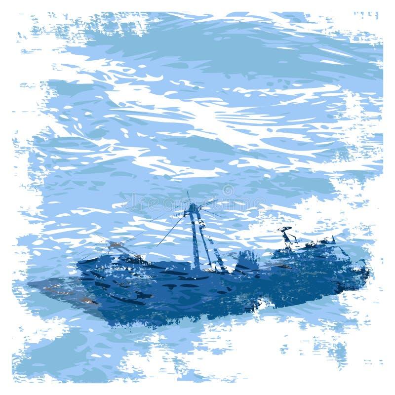 Sunken_ship ilustración del vector