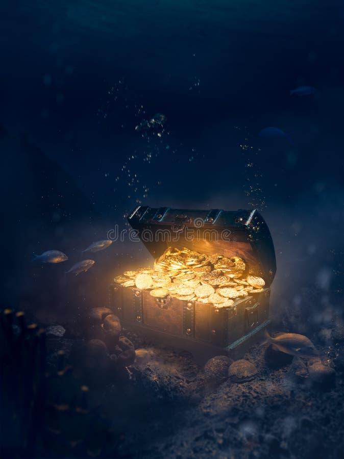 Free Sunken Treasure At The Bottom Of The Sea Stock Photos - 134534533