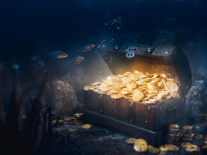 Sunken treasure at the bottom of the sea royalty free stock image