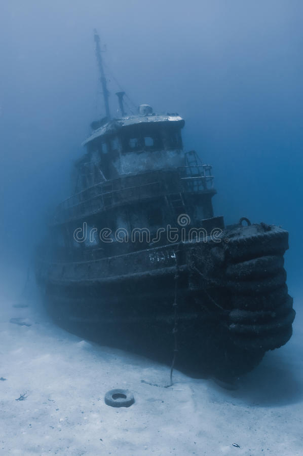 A sunken tugboat royalty free stock photography