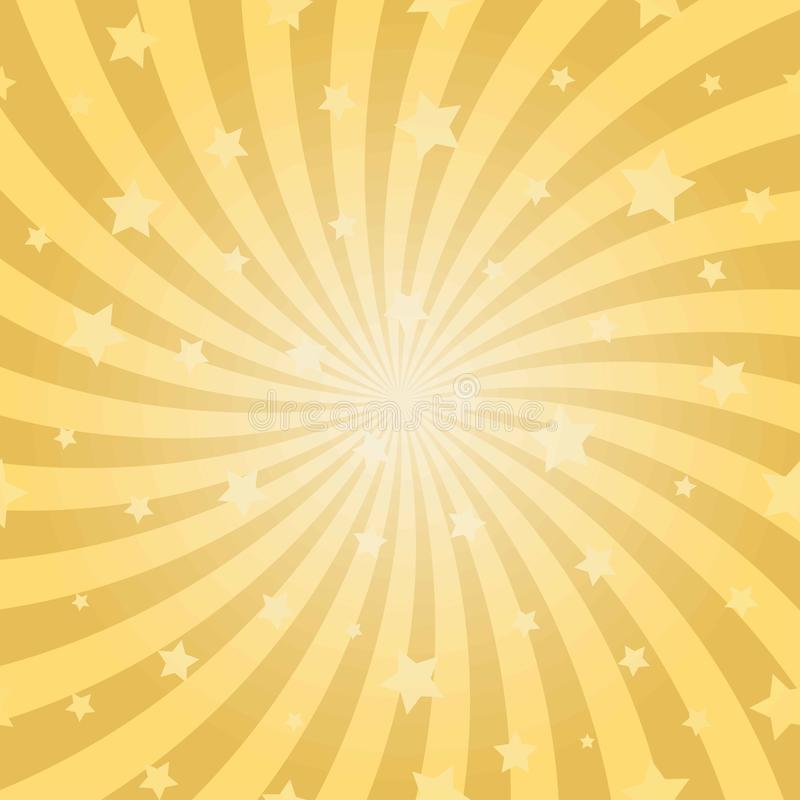 Sunlight abstract spiral background. Gold yellow color burst background with stars. royalty free illustration