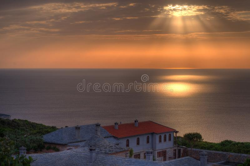 Prodromos hermitage. The landscape of the Aegean Sea near the Prodromos hermitage, Mount Athos, Greece stock images