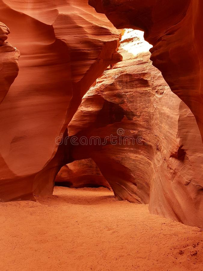Sunlight in Antelope Canyon, Navajo Territory, Arizona. Light and textures inside Antelope Canyon, Navajo Territory, Arizona, USA stock photo