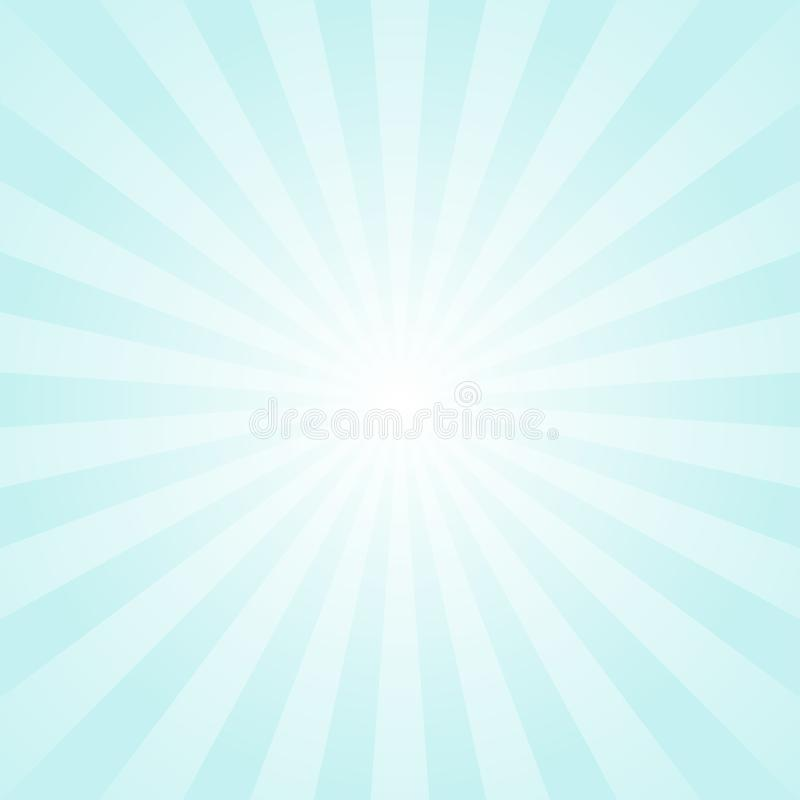 Sunlight background. Pale blue color burst background with white highlight. Fantasy Vector illustration. royalty free illustration