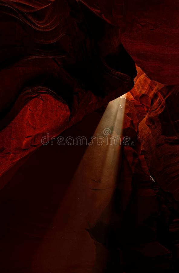Upper Antelope Canyon with light beams, Arizona stock image
