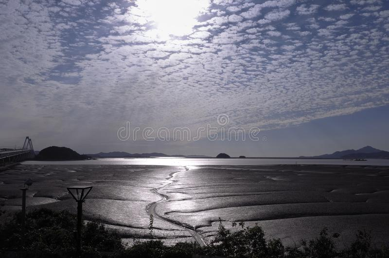 The Sunlight reflects off the wet mudflat and tidal channel during the ebb tide. stock image