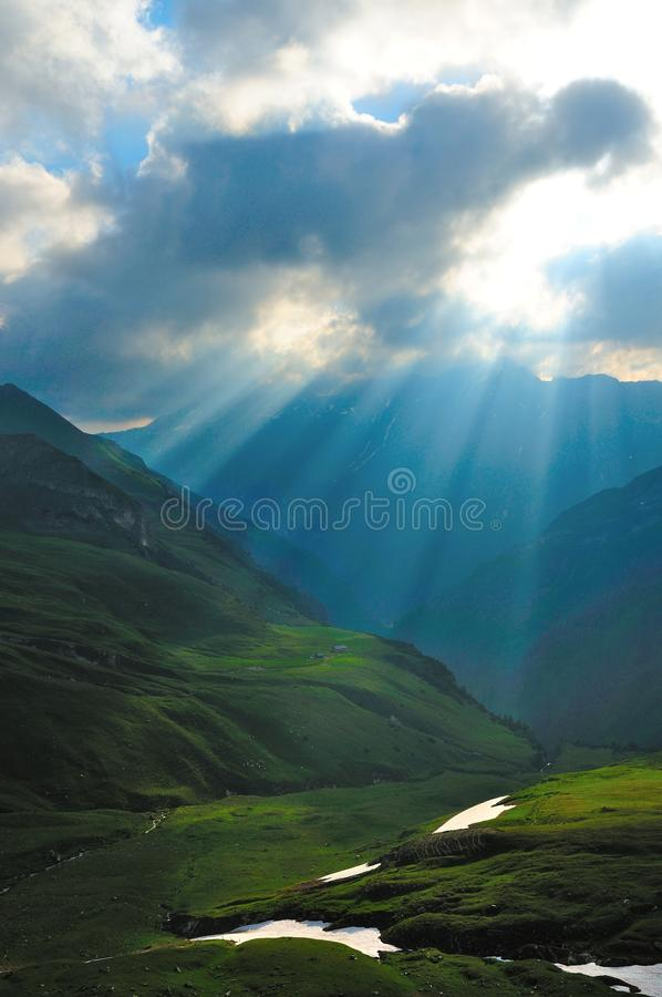 Sunlight. The sunlight come through the clouds royalty free stock photo