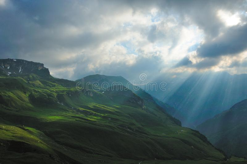 Sunlight. The sunlight come through the clouds stock image