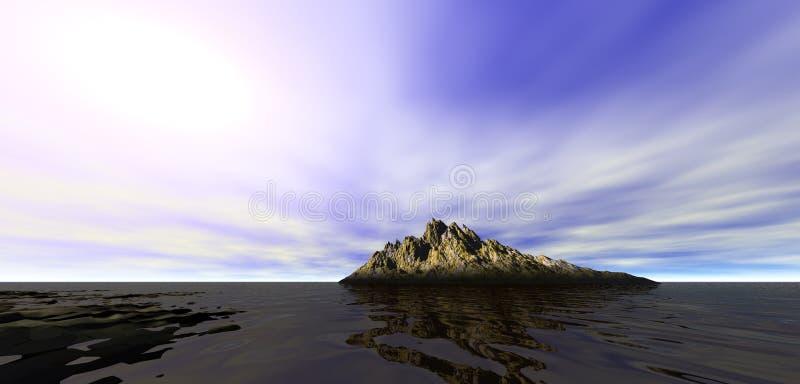 Sunlight on distant mountain