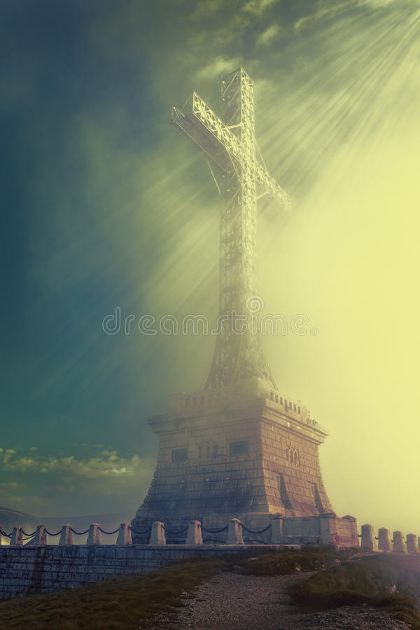 Cross with rays stock photo