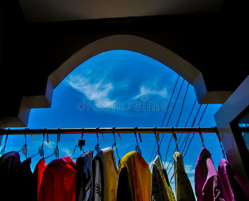 Sunlight is good for washing. Use Reduce odor royalty free stock photo