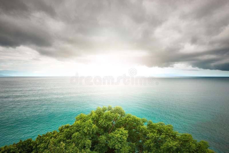 Sunlight through the haze dramatic clouds. Used as background and dramatic look on plot stock images