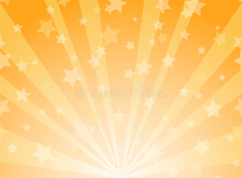 Sunlight horizontal background. Powder yellow and blue color burst background with shining stars. Vector illustration. Sun beam ray sunburst pattern backdrop stock illustration