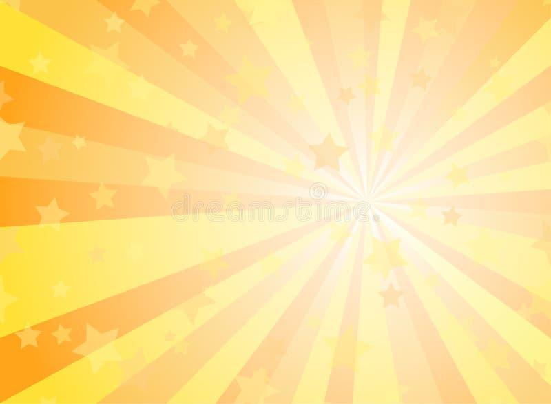 Sunlight horizontal background. Powder yellow and blue color burst background with shining stars. Vector illustration. Sun beam royalty free illustration
