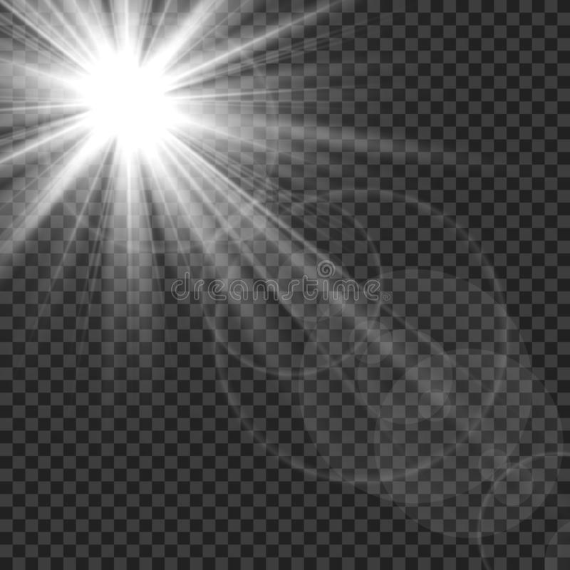 Sunlight isolated. Sun rays light lens flare glare. White transparent sunshine starburst vector illustration royalty free illustration