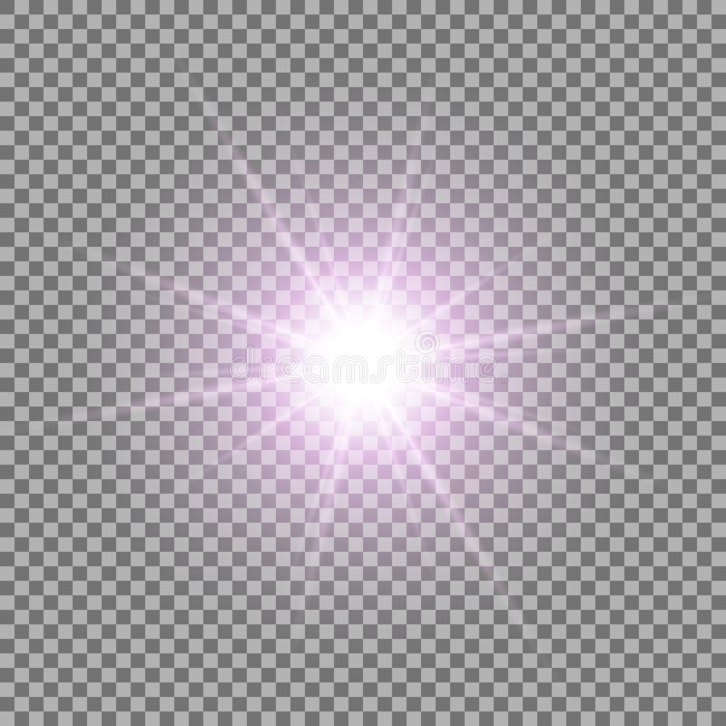 Shining star on transparent background, purple color stock illustration