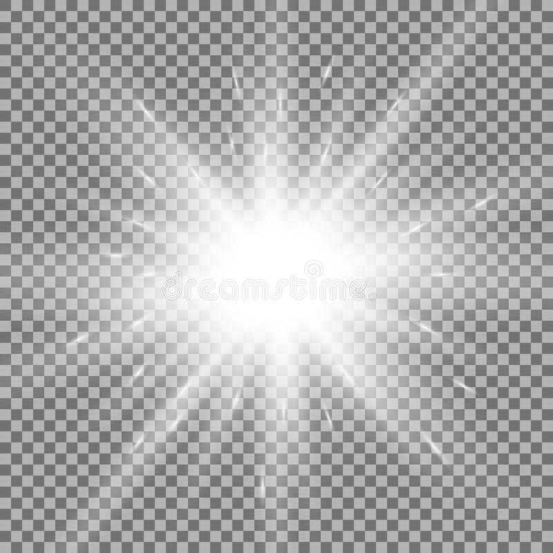 Shining star on transparent background, white color royalty free illustration