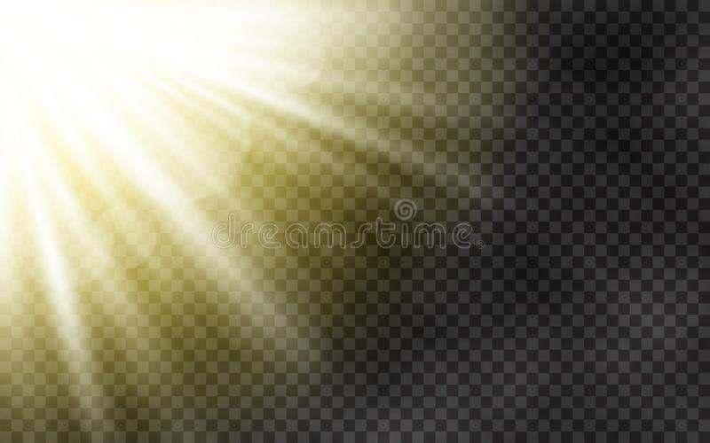 Sunlight with morning fog on transparent background. Spring template with yellow rays. Sun and lens flare light effect. Abstract light on dark backdrop. Vector stock illustration