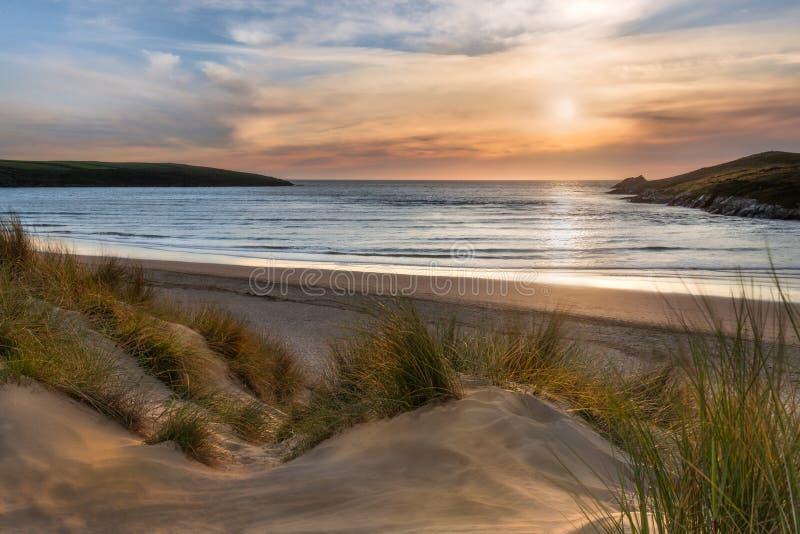 Sunlight over Dunes, Crantock Beach, on the beautiful north Cornwall coast stock image