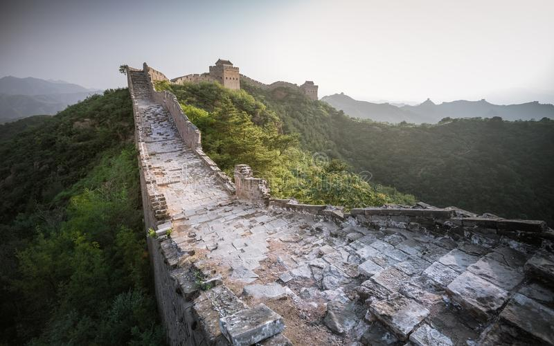 Sunlight painted scenery of Great Wall,China-East Asia. The Great Wall,the most representative part of the Chinese brick-made dragon, has been rebuilt royalty free stock photography