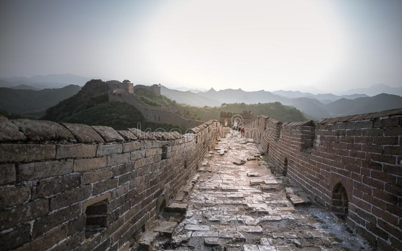 Sunlight painted scenery of Great Wall,China-East Asia. The Great Wall,the most representative part of the Chinese brick-made dragon, has been rebuilt royalty free stock image