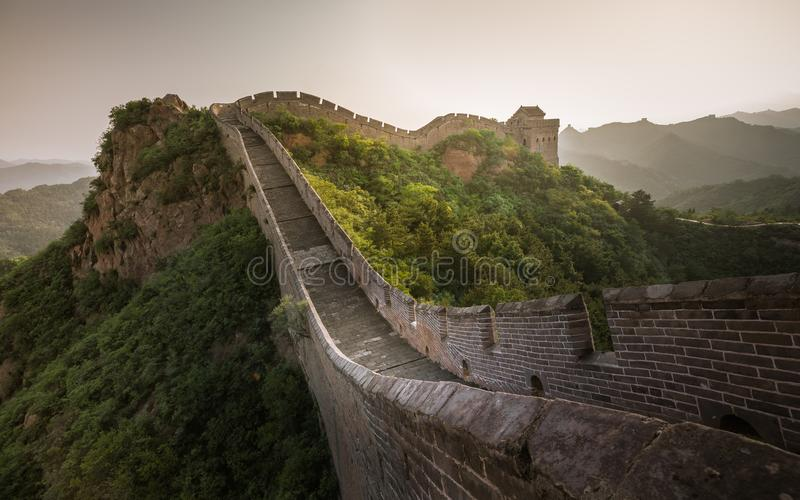 Sunlight painted scenery of Great Wall,China-East Asia. The Great Wall,the most representative part of the Chinese brick-made dragon, has been rebuilt stock image