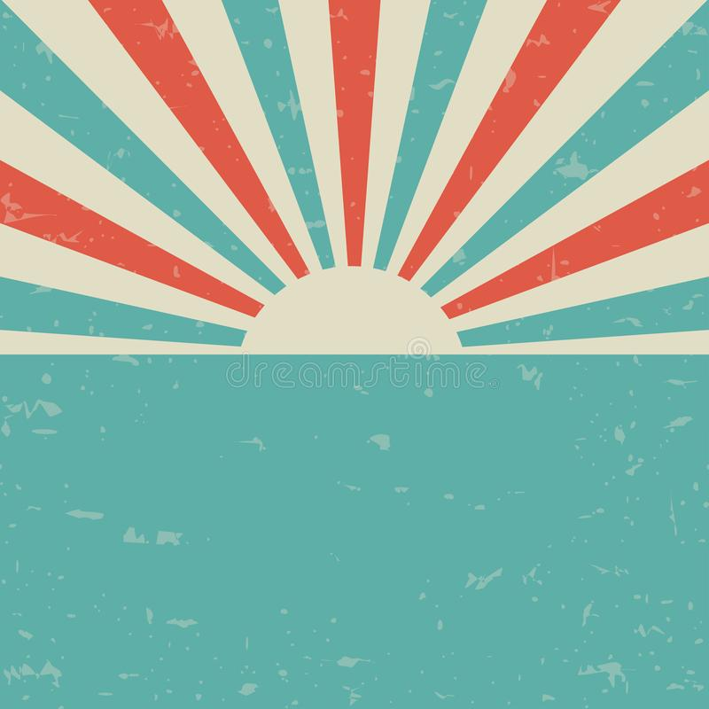 Sunlight retro faded grunge poster. blue and red color burst background. vector illustration