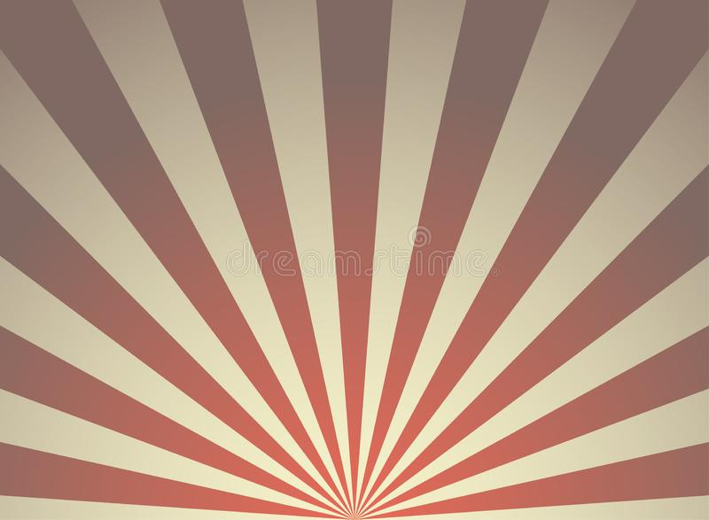 Sunlight retro grunge horizontal background. red and beige color burst background. Vector illustration. Sun beam ray background. royalty free illustration