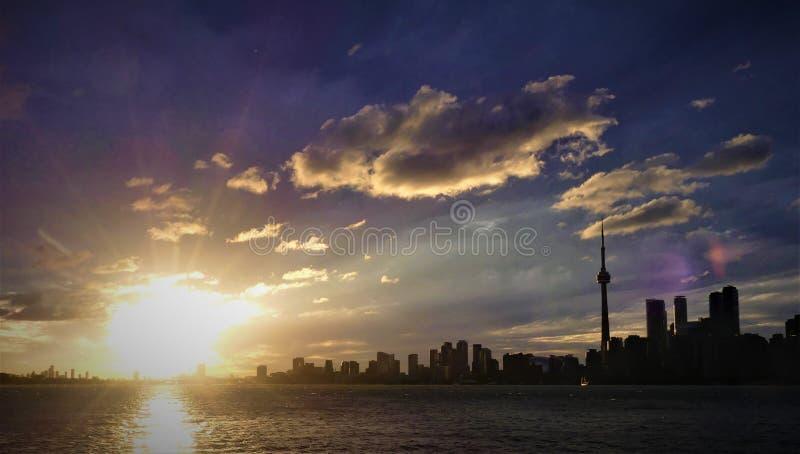 Sunlight rises over Toronto Skyline royalty free stock photos