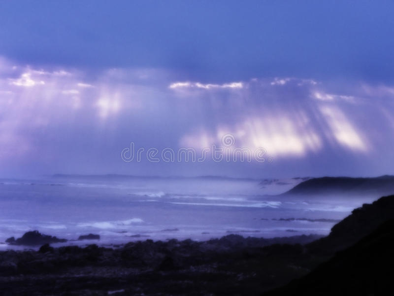 Sunlight shafts of the ocean royalty free stock photos