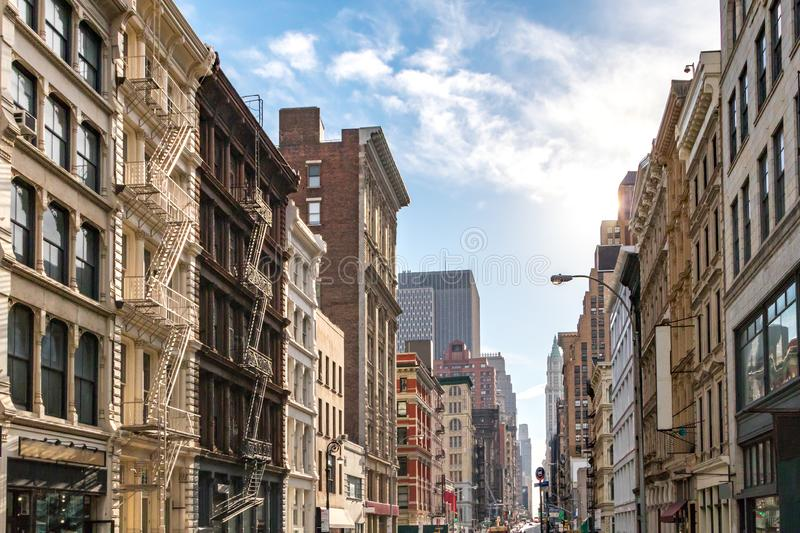 Sunlight shines on the buildings in SoHo, New York City royalty free stock photo