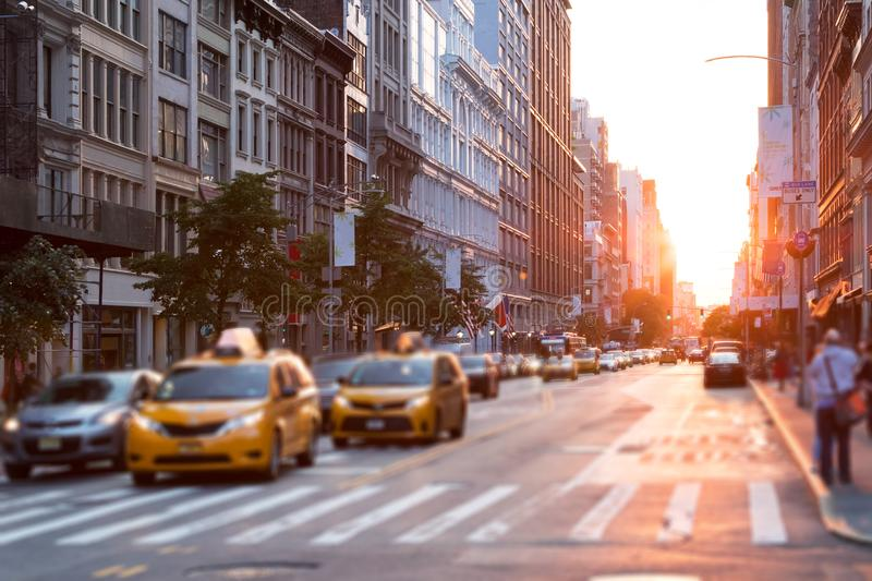 Sunlight shines down the streets of New York City stock photo