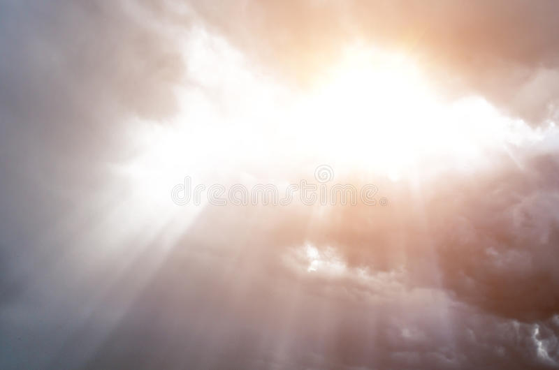 Sunlight skylight from the clouds of divine light royalty free stock images