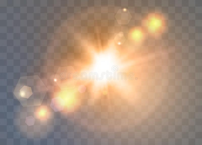 Sunlight on a transparent background. Glow light effects. Star flashed sequins. Sun glare on transparent background. The lens sparkles vector illustration
