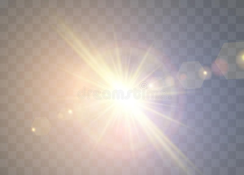 Sunlight on a transparent background. Glow light effects. Star flashed sequins. Sun glare on transparent background. The lens sparkles royalty free illustration