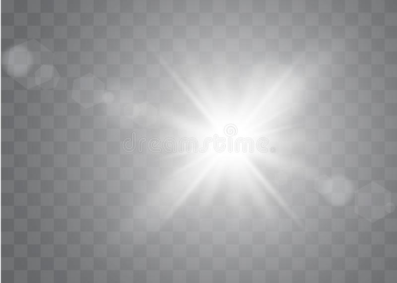 Sunlight on a transparent background. Glow light effects. Star flashed sequins. Sun glare on transparent background. The lens sparkles stock illustration