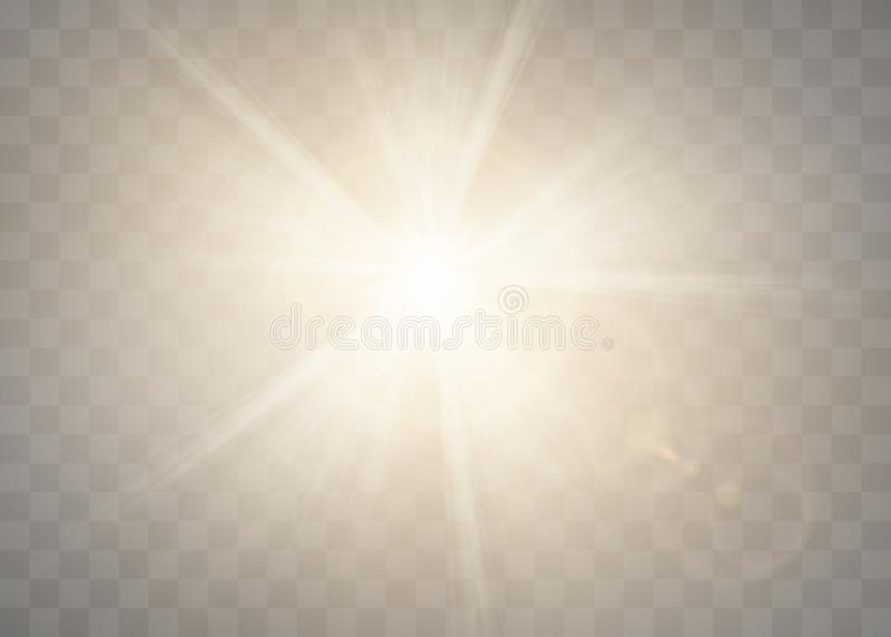 Sunlight on a transparent background. Glow light effects. Star flashed sequins. Sun glare on transparent background. the lens. Sunlight on a transparent royalty free illustration
