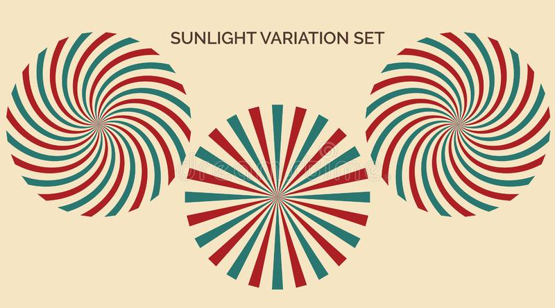 Sunlight variation set. Abstract sunlight red yellow blue and green colors background. Carnival circus style for circling royalty free illustration