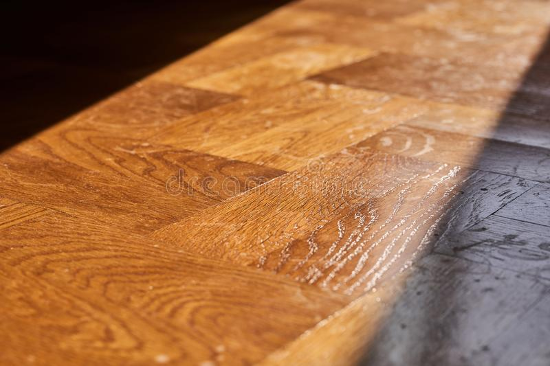 Sunlight from the window on the parquet floor stock photography