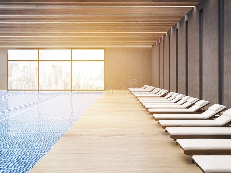 Sunlit общественный бассейн с шезлонгами бесплатная иллюстрация