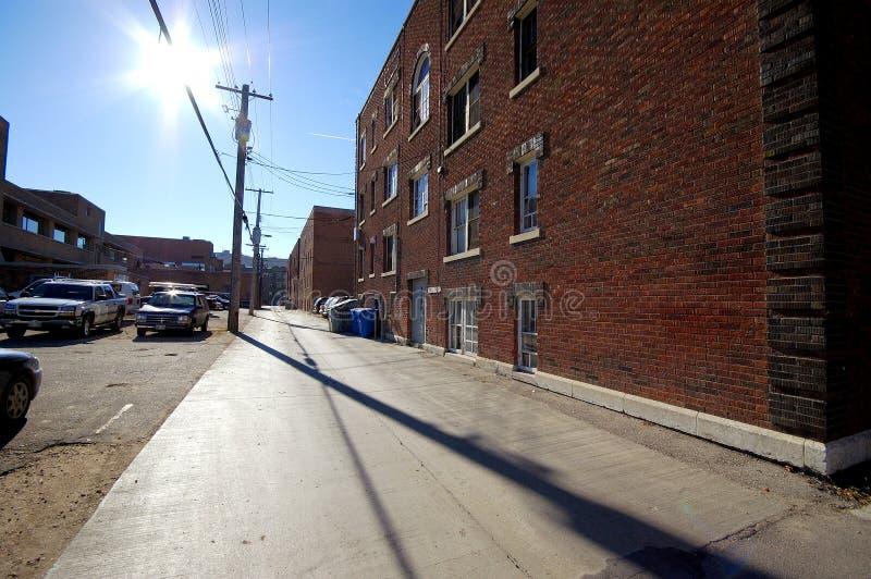 Download Sunlit Alleyway stock image. Image of lane, powerlines - 436345