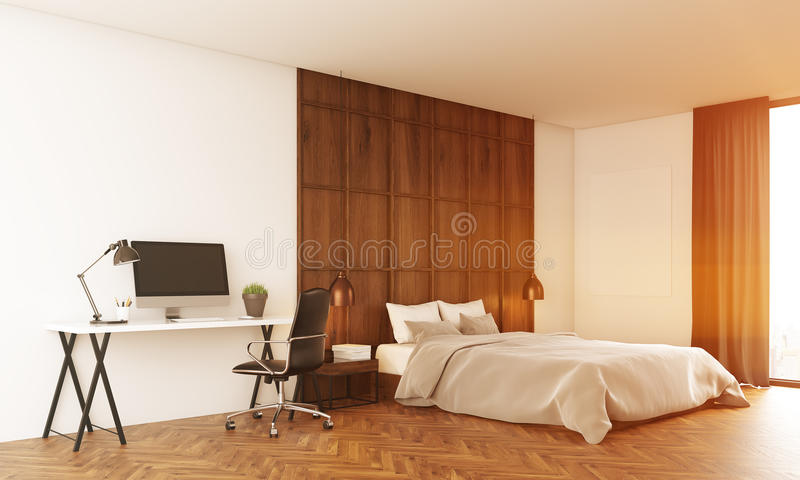 Sunlit bedroom with computer. Bedroom lit with sun. Computer on table. Pillows on large bed. Concept of comfort. 3D render. Toned image vector illustration