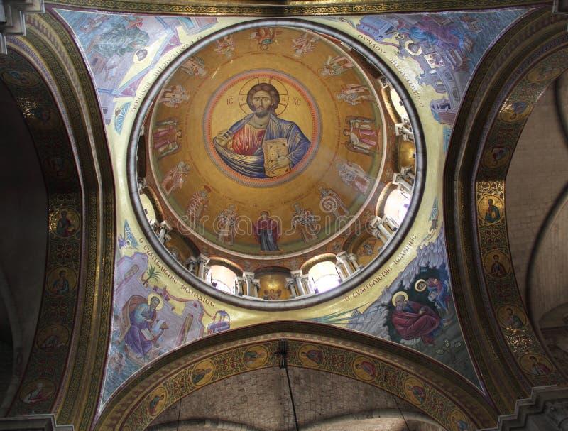 sunlit christ jesus målning royaltyfria foton