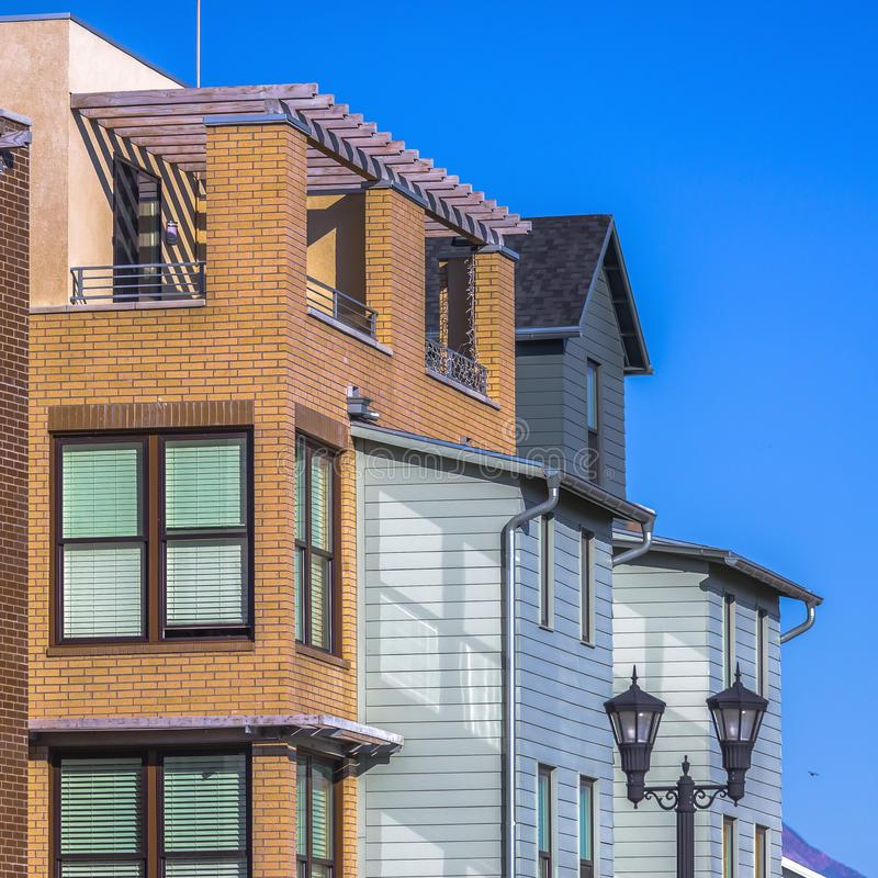 Sunlit home with a balcony in Daybreak Utah royalty free stock image