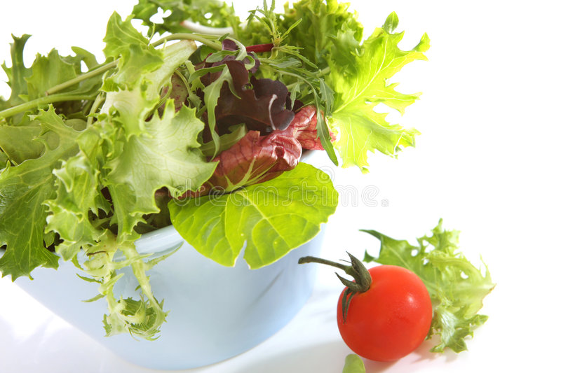 Sunlit Salad. Bowl filled with mixed lettuce and spinach leaves, with a cherry truss tomato royalty free stock photography